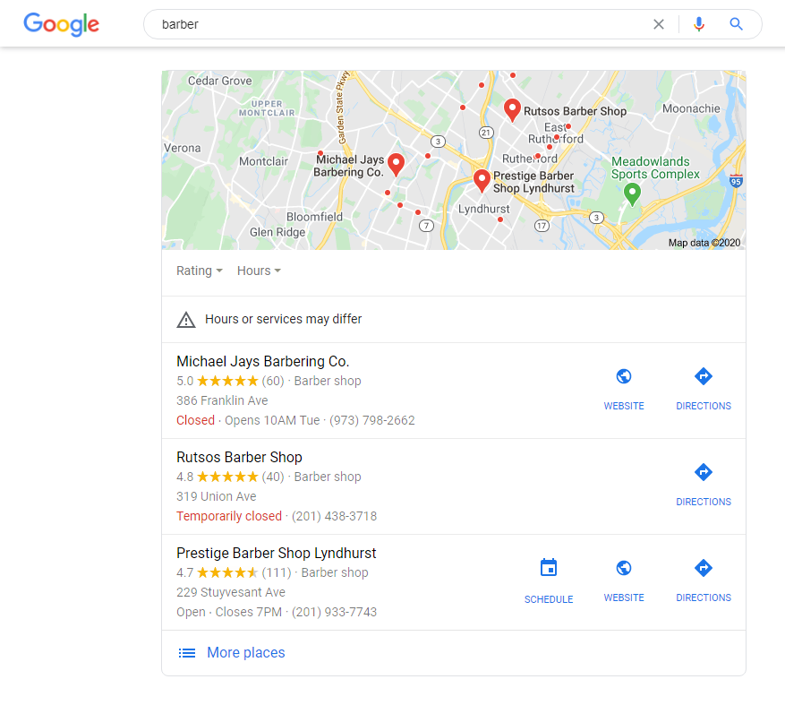 Google Local Search Snack Pack