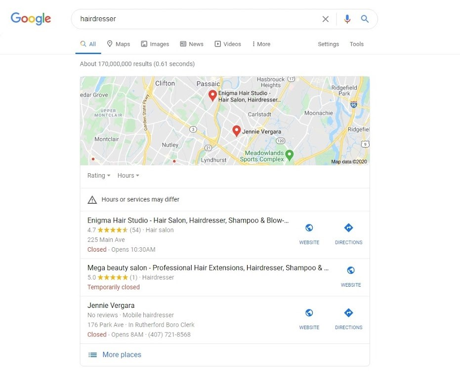 Google Results showing 3 business around the user that matches the search term