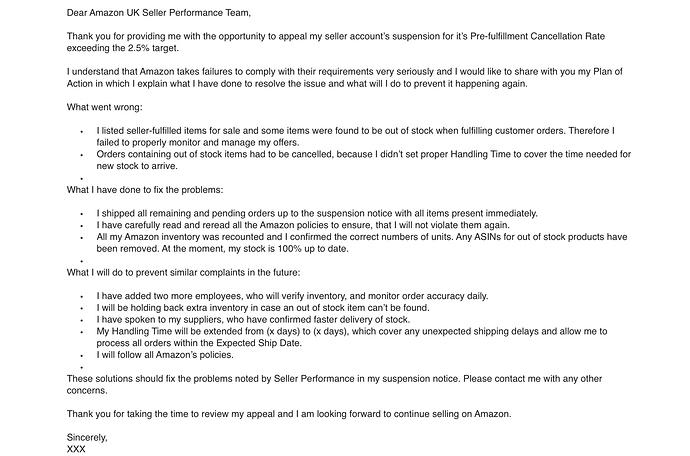 Smaple Amazon Seller Account Reactivation Request letter
