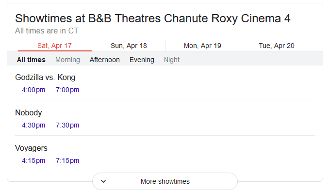 Another example of Event Schema where movie showtimings are shown