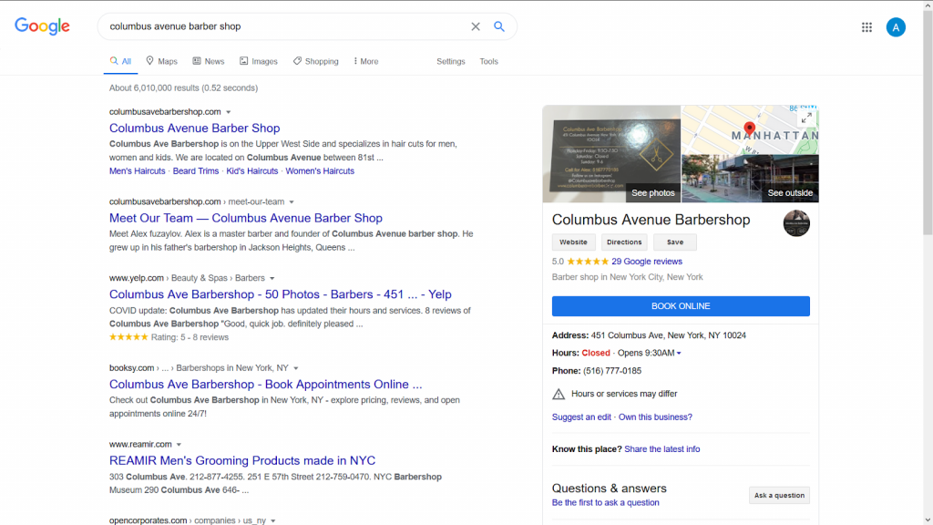 Local SEO Tips-A robust GMB profile of a barber shop