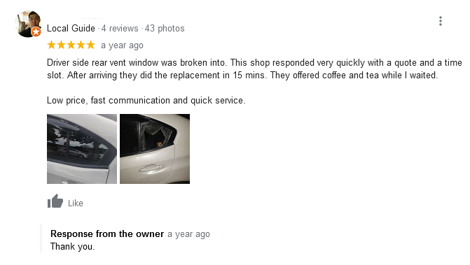An example of brand responding to a review
