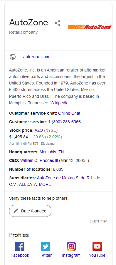A Google featured snippet where the social media posts are shown at the bottom