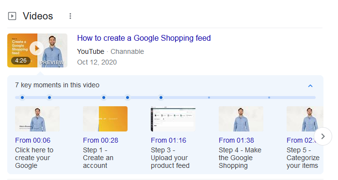 An example of video snippets with timeline for easy viewing